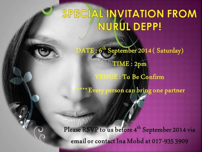 SPECIAL INVITATION FROM NURUL DEPP!